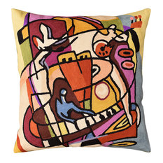 Stroking the Keys by Alfred Gockel Accent Pillow Cover Handmade Wool 18x18""