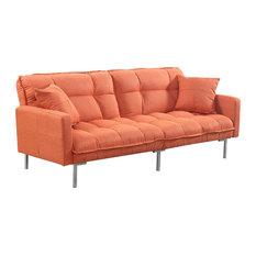 Modern Plush Tufted Linen Sleeper Futon, Orange
