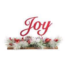 """20""""L Christmas Metal """"Joy"""" Floral Center Piece"""