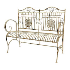 Garden Bench in Distressed White