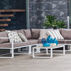 - 5pce Adler Cushion Setting White/Taupe - Outdoor Chaise Lounges