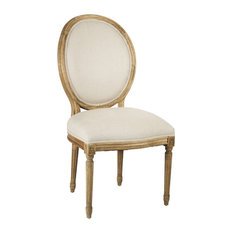 Medallion Side Chair, Natural Linen, Natural Oak
