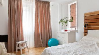 Шторы из рогожки для белой спальни