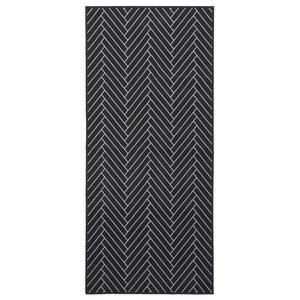 Herringbone Rug, Black/Light Grey, 90x200 cm Runner