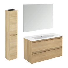 Ambra 100 Nordic Oak Complete Vanity Unit With Column and Mirror