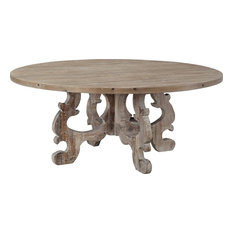 LISBON Dining Table Round Oil-Based Wax NC Lacquer Washed White P