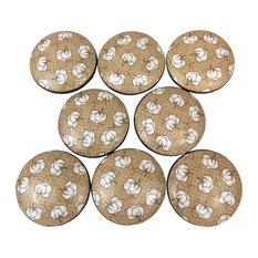 8-Piece Cotton Bolls on Tan Wood Cabinet Knobs Set