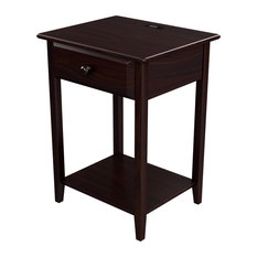 Stowe Accent Table With USB Port, Espresso