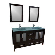 "60"" Double Sink Bathroom Vanity Frosted Green Glass"