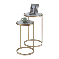 Modern 2 Nesting End Table Gold Painted Frame With Round Top Faux Marble