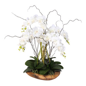 Real Touch Phalaenopsis Silk Orchids With Succulents in Natural Teak Bowl