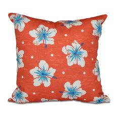 "Hibiscus Blooms, Floral Print Pillow, Orange, 16""x16"""