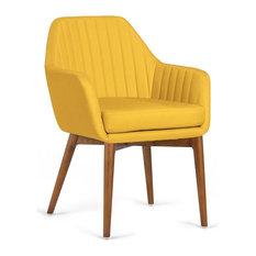 Yoko Upholstered Armchair With Wooden Legs, Yellow