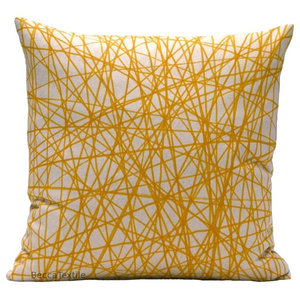 Yellow Scribble Cushion, 40x40 Cm