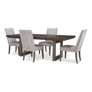 Facets Rectangle Dbl Pedestal Table, Mink/Silver Undertones