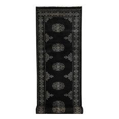 "ALRUG Handmade Black Oriental  Bokhara Rug, 2'6""x9'7"""