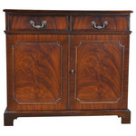 Niagara Furniture - Mahogany 2-Door Server - This Mahogany Two Door Server from Niagara Furniture has a great amount of storage space with two full doors below opening onto a shelved area and the wide, single drawer above. Produced using the finest quality veneers and solid mahogany woods this item is a perfect compliment to several of our breakfront china closets which can be seen below in the related products section of this page. The bank of four dovetailed drawers align over the four figural veneered doors which conceal shelved storage areas, all resting on the shaped bracket feet. Finished in a beautiful brown hue the Mahogany Two Door Server has a straight lined and sophisticated look that will never go out of style. Designer style solid brass hardware complete the look of our mahogany sideboard.