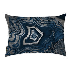 """Oliver Gal """"Dreaming About You Geode"""" Pillow, 14""""x20"""", Navy"""