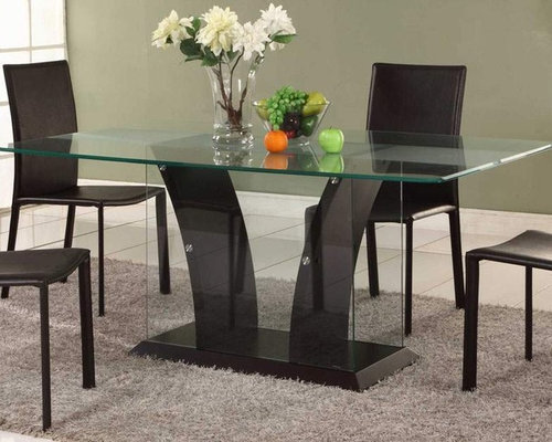 Extravagant Rectangular Wooden And Clear Glass Top Leather Modern Dining  Set   Dining Sets