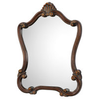Octagonal Scalloped And Crown Wooden Wall Mirror, Brown And Silver