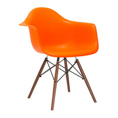 Vortex Arm Chair Walnut Leg, Orange