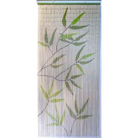 "Bamboo Leaves Design Beaded Curtain Doorway 90 Strings Green 78.8""x35"""