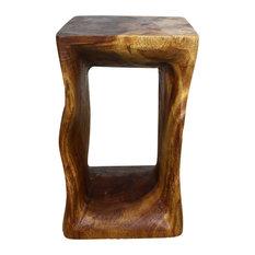 Haussmann Inc.   Sustainable Monkey Pod Wood Natural End Table, Livos  Walnut Oil Finish