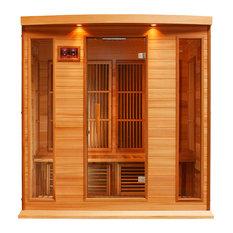 Maxxus 4 Person Corner Low EMF Far Infrared Carbon Heater Sauna (Red Cedar)