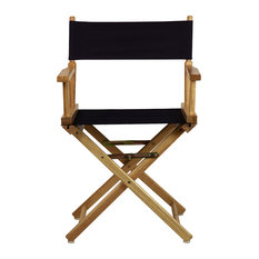 """18"""" Director's Chair With Natural Frame, Navy Blue Canvas"""