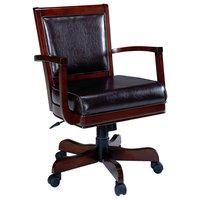 Ambassador Game Vinyl Chair w Caster in Medium Brown Cherry