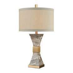 Cafe Bronze, Grey Marble Table Lamp Made Of Marble And Metal With A Oatmeal