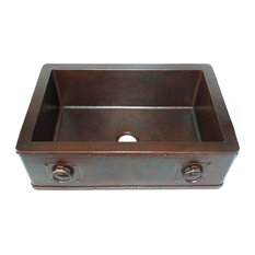 Straight Apron Front Kitchen Copper Sink With Rings, Undermount, Single Basin, W