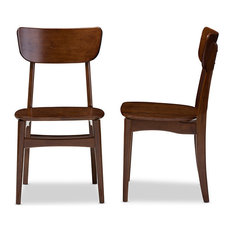 Netherlands, Scandinavian Style Dining Side Chairs, Dark Walnut, Set of 2