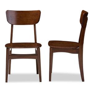 Netherlands Bent Wood Dining Side Chair, Walnut Dark Brown, Set Of 2