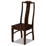 China Furniture and Arts - Rosewood Longevity Design Chair, Mahogany - Made of solid rosewood, this chair is exquisitely hand-carved with the symbol of Longevity sign in the center. Constructed with traditional joinery technique by artisans in China. Chair legs are designed with horizontal support bars, not only allow for structural support but also long lasting durability. To use as a dining chair or place a pair in a special spot in your living room. Hand applied rich mahogany finish. Silk cushion sold separately.