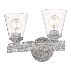 Ferris 2 Light Bath Vanity, Oyster With Clear Glass