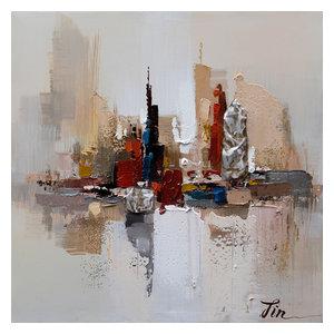 City Ruins I- Abstract Hand Painted Canvas Art, Modern Wall Decor Artwork