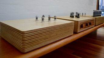Birch ply presentation of 3 stage tube amplifier system