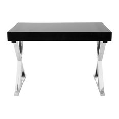 LumiSource Luster Office Desk, Black and Chrome