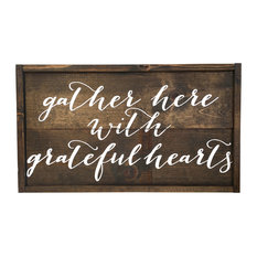 Grateful Hearts Handcrafted Wooden Sign