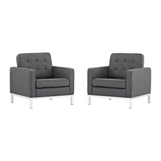Loft Armchairs Upholstered Fabric, Set of 2, Gray