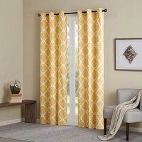 Madison Park Essentials Fretwork Printed Window Panel Pair in Yellow MPE40-497
