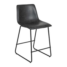24-inch LeatherSoft Counter Height Barstools Set Of 2 Gray