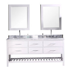 "36.5"" Modern Single Sink Bathroom Vanity, Pearl White, 72"" Double Sink"