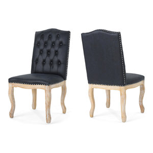 GDF Studio Sofia Upholstered Dining Chairs, Navy Blue/Natural, Set of 2