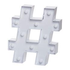Decorative Hashtag Novelty Light, White
