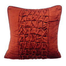 "Textured Knotted Pintucks 12""x12"" Velvet Rust Throw Pillows Cover, Rusty Knots"