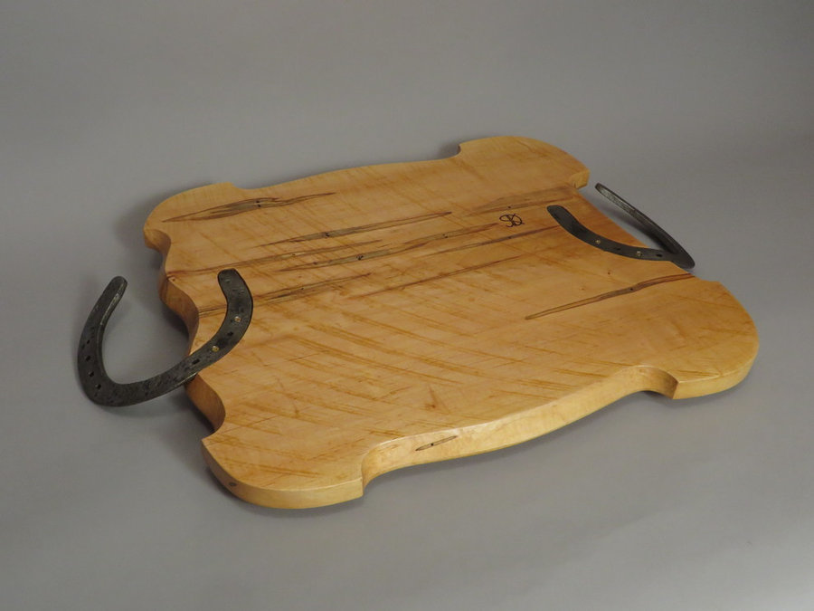 #15040 Rear Detail. Hand-Carved Serving Tray. Reclaimed Ambrosia Maple. Draft Ho