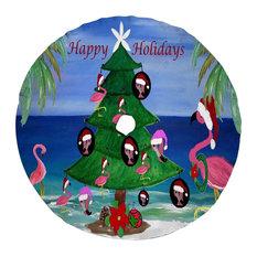 "Christmas tree skirts, Regular 58"" Round, Flamingo Trim A Tree"