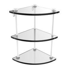 Three Tier Corner Glass Shelf, Matte White